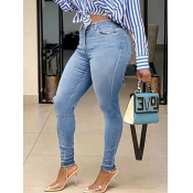 Lovely Stylish High-waisted Skinny Baby Blue Jeans