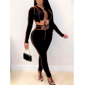 Lovely Sexy Lace-up Hollow-out Black Two Piece Pants Set