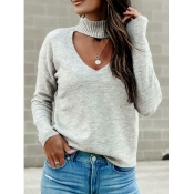Lovely Chic Hollow-out Light Grey Sweater