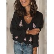 Lovely Casual Christmas Day V Neck Black Sweater