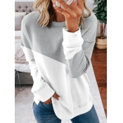 Lovely Sweet Patchwork Grey Sweatshirt