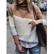 Lovely Chic Turtleneck Patchwork Khaki Sweater