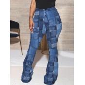 Lovely Street Print Skinny Blue Pants