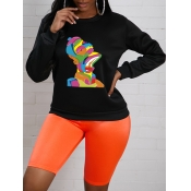Lovely Casual O Neck Cartoon Print Black Hoodie