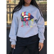 Lovely Casual O Neck Lip Print Grey Hoodie