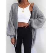 Lovely Casual Pocket Design Loose Grey Cardigan