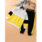 Lovely Sportswear O Neck Patchwork Yellow Two Piec