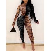 Lovely Trendy O Neck Striped Print Patchwork Black One-piece Jumpsuit