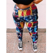Lovely Casual High-waisted Print Multicolor Plus S