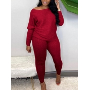 Lovely Casual Boat Neck Long Sleeve Red Two Piece