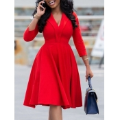 Lovely Formal V Neck Red Knee Length A Line Dress