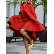 Lovely Casual Turndown Collar Loose Asymmetrical Red Knee Length Dress