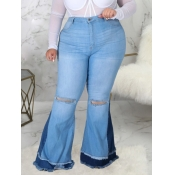 Lovely Street Hollow-out Baby Blue Plus Size Jeans