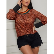 Lovely Stylish Leopard Patchwork Yellow Blouse