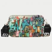 Lovely Chic Graffiti Print Beige Crossbody Bag