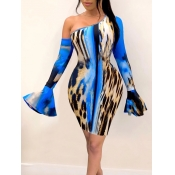 Lovely Stylish Print Skinny Blue Knee Length Sheat