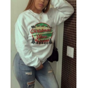 Lovely Casual Christmas Day Letter Print White Plu