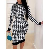 Lovely Casual Plaid Print Patchwork Skinny White Knee Length Dress