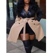 Lovely Stylish Turndown Collar Patchwork Black Trench Coat