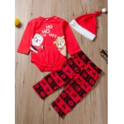 Lovely Sweet Christmas Day Print Red Girls Two-pie