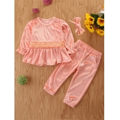 Lovely Sweet O Neck Ruffle Design Pink Girls Two-p