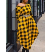Lovely Street Plaid Print Patchwork Yellow Ankle L