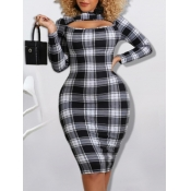 Lovely Formal Hollow-out Plaid Print Patchwork Bla