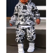 Lovely Sportswear Hooded Collar Camo Print Grey Boy Two-piece Pants Set