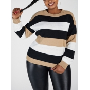 Lovely Casual O Neck Striped Patchwork Khaki Plus