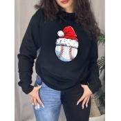 Lovely Trendy Christmas Day Hat Print Black Plus S
