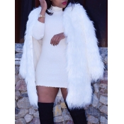 Lovely Casual Basic Loose White Faux Fur