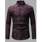 Lovely Formal Star Print Patchwork Red Men Shirt