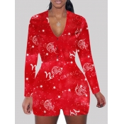 Lovely Sweet V Neck Starry Sky Print Red One-piece
