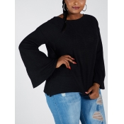 Lovely Chic O Neck Flared Basic Loose Black Plus S