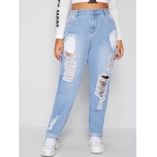 Lovely Casual High-waisted Broken Holes Baby Blue