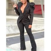 Lovely Formal Turndown Collar Ruffle Design Black