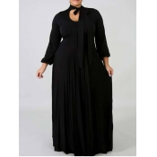 Lovely Casual Long Hollow-out Black Floor Length A