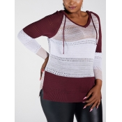 Lovely Casual Hollow-out Patchwork Wine Red Plus S