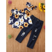 Lovely Casual Sunflower Print Bow-tie Decoration B