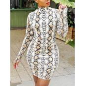 Lovely Casual O Neck Animal Print Brown Mini Dress