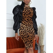 Lovely Casual O Neck Leopard Print Patchwork Brown