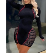 Lovely Sexy Mesh Patchwork Black Mini Plus Size Dr