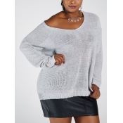 Lovely Casual V Neck Hollow-out Grey Plus Size Swe