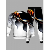 Lovely Street Fire Print Patchwork White Men Two P
