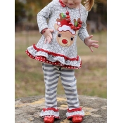 Lovely Sweet O Neck Cartoon Print White Girl Two-p