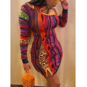 Lovely Street One Shoulder Hollow-out Print Patchw