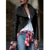 Lovely Street Turndown Collar Black Leather