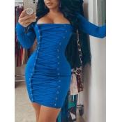 Lovely Casual Square Collar Bandage Design Blue Mi