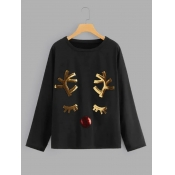 Lovely Casual O Neck Sequined Christmas Day Black