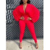Lovely Chic V Neck Batwing Sleeve Red One-piece Ju